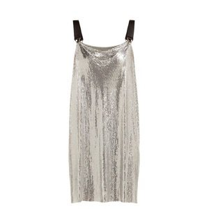 Paco Rabanne Metal Mesh Cowl Neck Mini Dress in Metallic