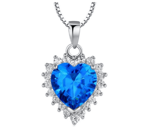 White Gold Plated Austrian Blue Crystal Necklace
