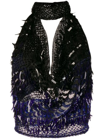 Alberta Ferretti sequin-embellished mock-neck Top - Farfetch