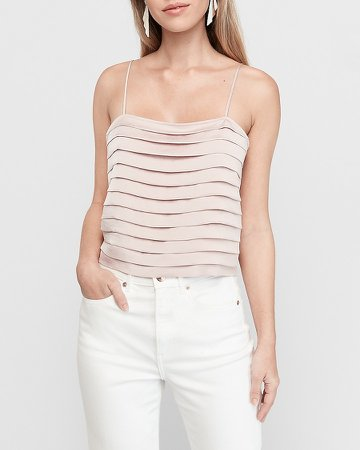 Pleated Square Neck Cropped Cami