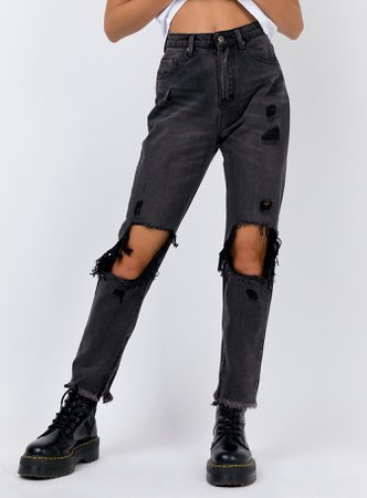 Erissa Knee Rip Jeans Washed Black – Princess Polly USA