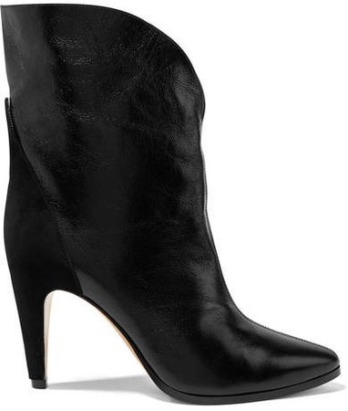Gv3 Suede-trimmed Textured-leather Ankle Boots - Black