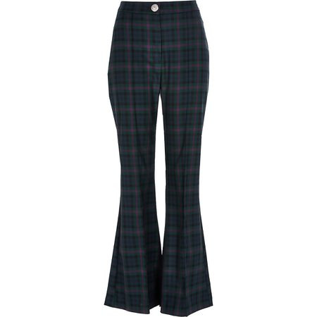 Navy tartan check flare trousers | River Island