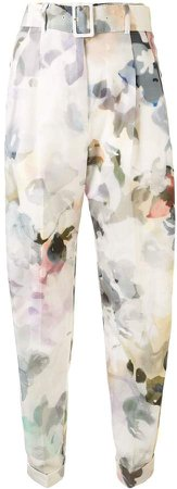 Floral-Print Belted Trousers