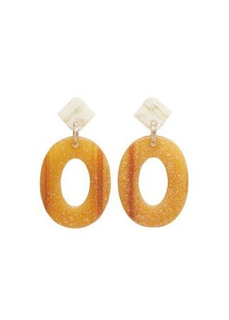 MANGO Resin geometric earrings