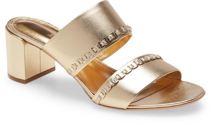 Trabia Chain Block Heel Slide Sandal