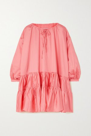 Oversized Tiered Gathered Cotton-poplin Dress - Pink