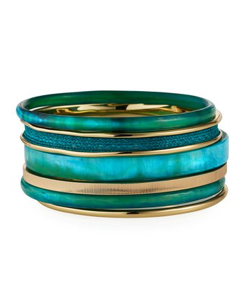 Akola Horn and Raffia Bangle Bracelets, Set of 6, Turquoise | Neiman Marcus