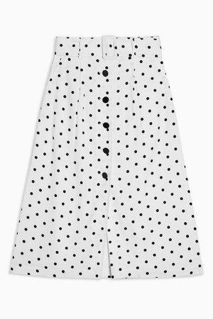 Black And White Belted Spot Midi Skirt   Topshop white