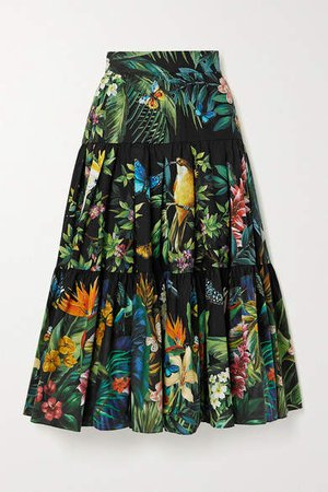Tiered Printed Cotton-poplin Midi Skirt - Black
