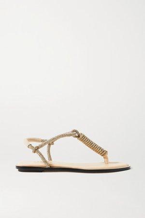 Serena Uziyel - Iris Suede-trimmed Metallic Rope Slingback Sandals - Gold