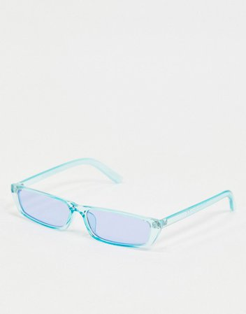 Pieces clear slim sunglasses in pastel blue | ASOS