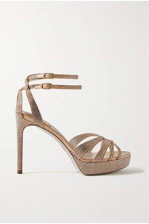 Dania Crystal-embellished Satin Platform Sandals - Gold