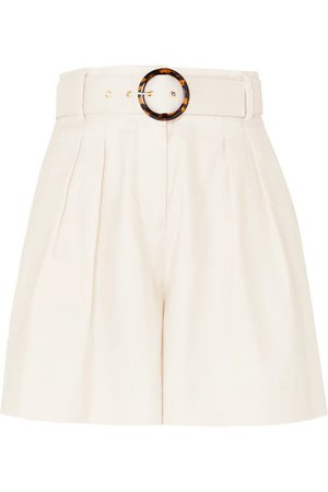 Rebecca Vallance | Taylor belted pleated linen and cotton-blend shorts | NET-A-PORTER.COM