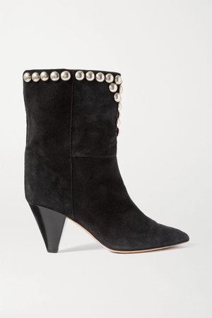 Black Lunee studded suede ankle boots | Isabel Marant | NET-A-PORTER