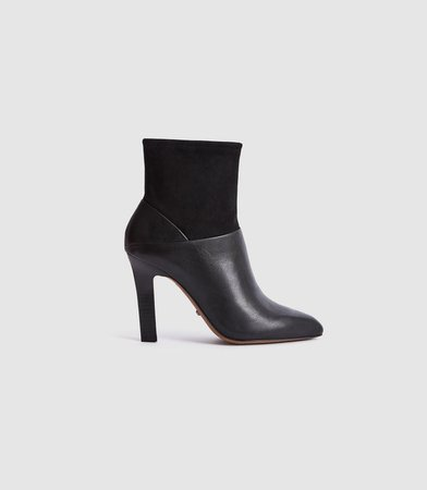 Carrie Black Suede & Leather Ankle Boots – REISS