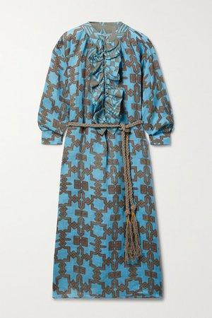 Belted Ruffled Printed Linen Midi Dress - Blue