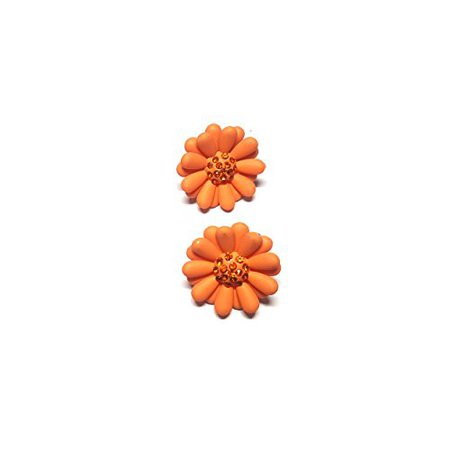 Casual Pair of orange flower stud Earring By Divine Creations