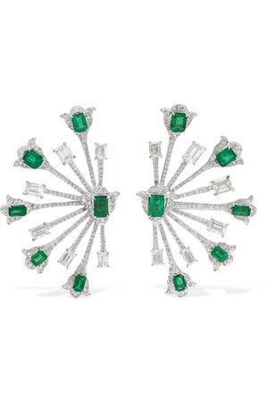 Amrapali   18-karat white gold diamond and emerald earrings   NET-A-PORTER.COM