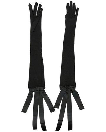 black bow opera gloves