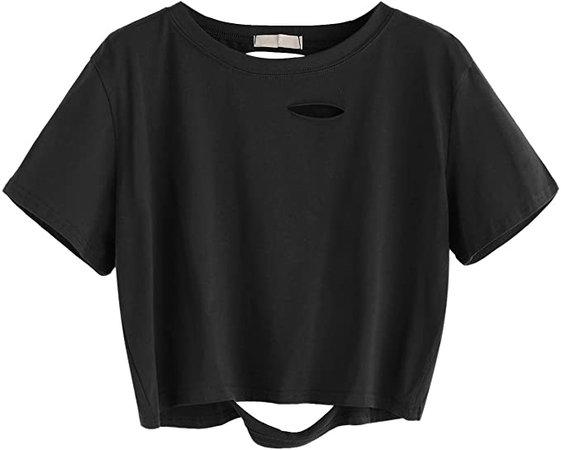 SweatyRocks Women's Summer Short Sleeve Tee Distressed Ripped Crop T-shirt Tops Black S at Amazon Women's Clothing store