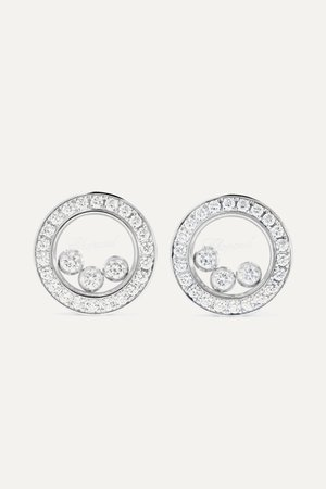 White gold Happy Diamonds 18-karat white gold diamond earrings | Chopard | NET-A-PORTER