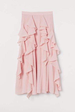 Flounced Cotton-blend Skirt - Pink