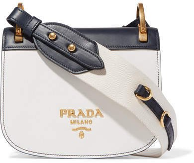 Pionnière Two-tone Leather Shoulder Bag - White