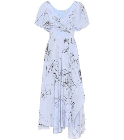Printed Silk Midi Dress - Alexander McQueen   Mytheresa