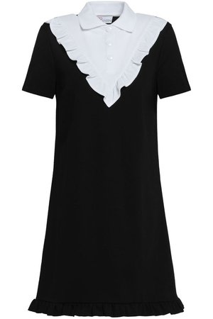 Ruffle-trimmed two-tone knitted mini dress | REDValentino | Sale up to 70% off | THE OUTNET