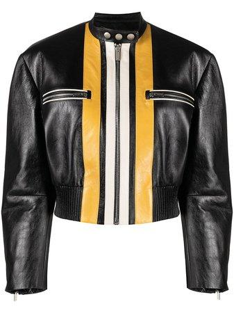 Miu Miu stripe-front bomber jacket - FARFETCH