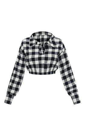 Black Flannel Check Button Up Elastic Crop Shirt   PrettyLittleThing USA