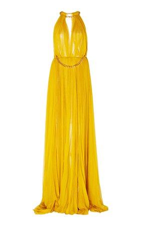 Embellished Pleated Silk Gown by Oscar de la Renta | Moda Operandi