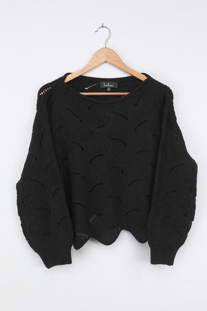 Black Sweater - Loose Knit Sweater - Lightweight Sweater