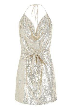 Sequin Cowl Neck Belted Mini Dress   Boohoo