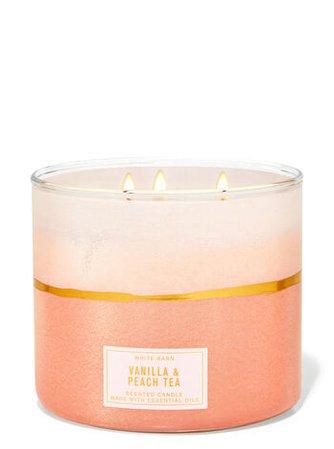 Vanilla & Peach Tea 3-Wick Candle - White Barn | Bath & Body Works