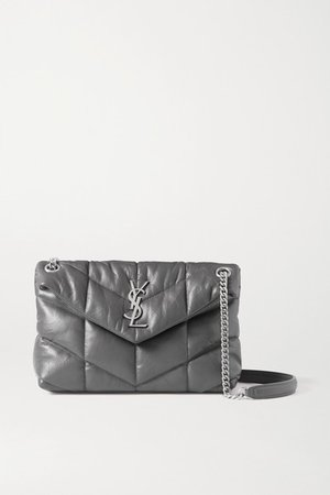 Loulou Puffer Small Quilted Leather Shoulder Bag - Dark gray