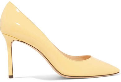 Romy 85 Patent-leather Pumps - Pastel yellow