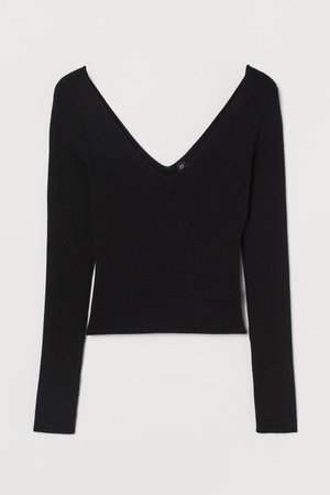 V-neck Sweater - Black - Ladies | H&M US