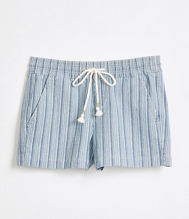 Cotton Linen Denim Pull On Shorts in Blue Stripe