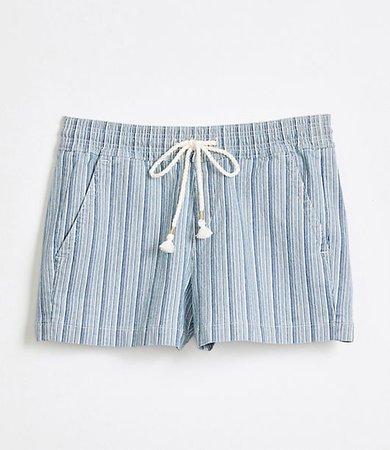 Cotton Linen Denim Pull On Shorts in Blue Stripe