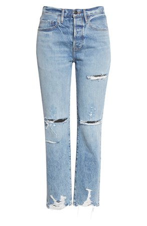 FRAME Le Original Ripped High Waist Ankle Boyfriend Jeans (Cascade Blue Rips) | blue