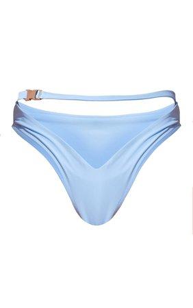 Blue Buckle High Waisted Bikini Bottom   PrettyLittleThing