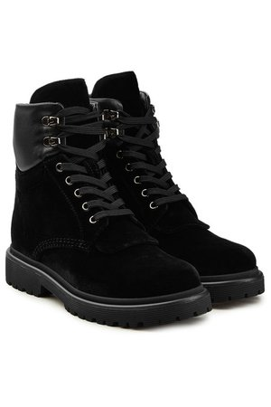 Moncler Patty Velvet Ankle Boots with Leather - black