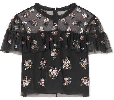 Lustre Cropped Embellished Tulle Top - Black