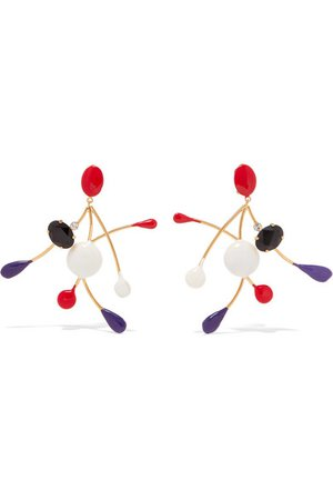 Marni | Gold-plated enamel and crystal clip earrings | NET-A-PORTER.COM