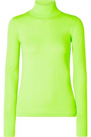 Les Rêveries   Neon stretch-knit turtleneck top   NET-A-PORTER.COM