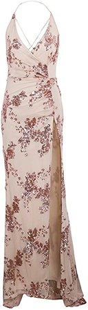 BerryGo Women's Sexy Backless Halter High Split Floral Sequin Maxi Dress