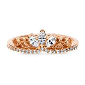 Rose Gold Plated Sterling Silver CZ Crown Milgrain Filigree Ring