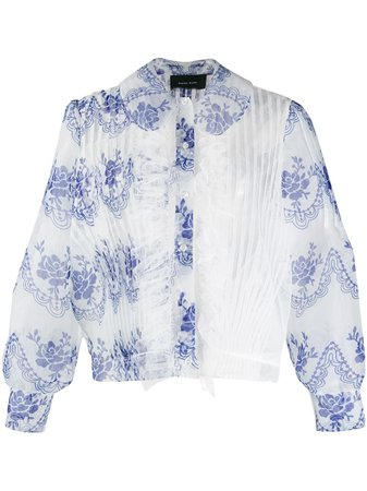 Shop blue Simone Rocha asymmetric sheer blouse with Express Delivery - Farfetch